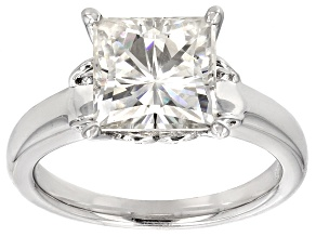 Moissanite Platineve Ring 3.20ct D.E.W