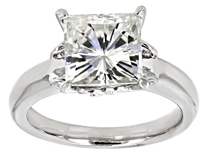 Moissanite Platineve Solitaire Ring 3.90ct DEW