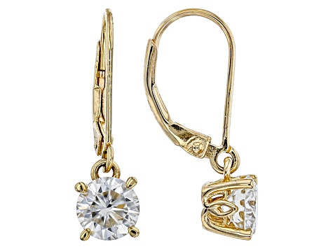 Moissanite 14k Yellow Gold Over Silver Dangle Earrings 1 60ctw Dew