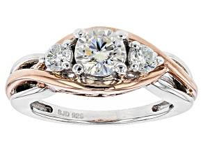 Moissanite Ring Platineve And 14k Rose Gold Over Silver 1.12ctw DEW