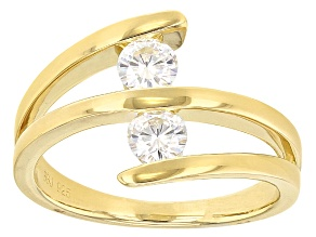 Moissanite Ring 14k Yellow Gold Over Silver .66ctw DEW