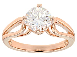 Moissanite Ring  14k Rose Gold over Sterling Silver 1.50ct DEW
