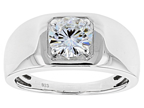 Moissanite Platineve Mens Ring 1.20ct DEW