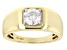 Moissanite 14k Yellow Gold Over Sterling Silver Mens Ring 1.20ct DEW