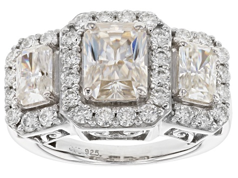 Moissanite Ring Platineve™ 3.94ctw DEW