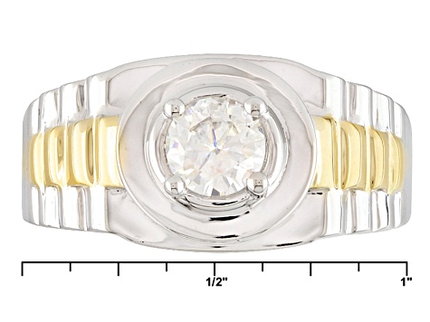 Moissanite Gent Ring Two Tone 14k Yellow Gold Over Platineve™ .80ctw DEW