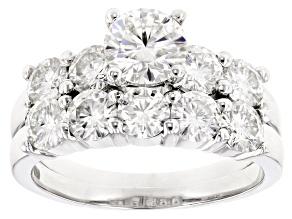 Moissanite Ring With Band Platineve™ 4.17ctw DEW