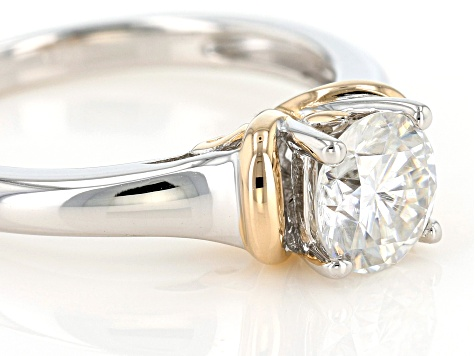 Moissanite Two Tone Platineve Ring 1.20ctw DEW