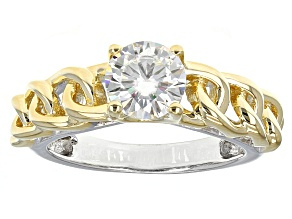 Moissanite Ring Two Tone 14k Yellow Gold Over Platineve™ 1.20ct DEW