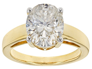 Picture of Moissanite Fire® 4.20ct DEW Oval 14k Yellow Gold Over Sterling Silver Ring