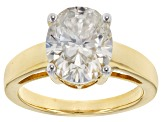 Moissanite Fire® 4.20ct DEW Oval 14k Yellow Gold Over Sterling Silver Ring