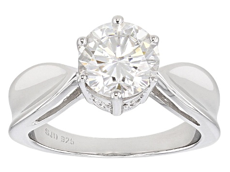 Moissanite Ring Platineve 1.90ct DEW
