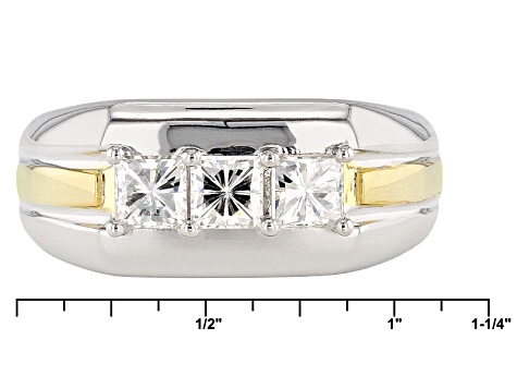 Moissanite Gent Ring Two Tone 14k Yellow Gold Over Platineve™ 1.50ctw DEW