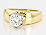 Moissanite Ring 14k Yellow Gold Over Silver 1.90ct DEW.
