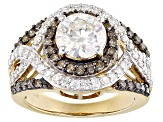Moissanite And Brown Diamond Ring 14k Yellow Gold Over Sterling Silver