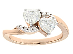 Moissanite Ring 14k Rose Gold Over Sterling Silver 1.20ctw DEW