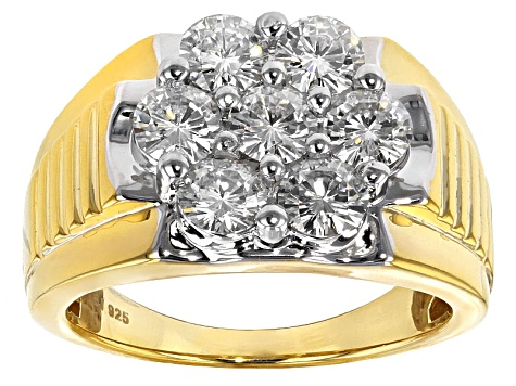 Moissanite Gents Ring 14k Yellow Gold Over Sterling Sliver  2.31ctw DEW