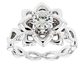 Moissanite Ring Platineve™ .80ct DEW