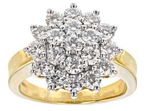 Moissanite 14 Yellow Gold Over Silver Ring 1.90ctw DEW