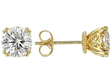 Moissanite 14k Yellow Gold Over Silver Earrings 2.40ctw DEW