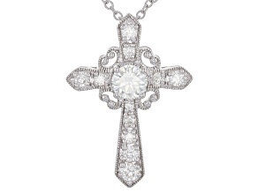 Moissanite Cross Pendant Platineve™ 1.09ctw DEW