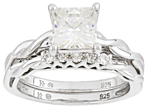 Moissanite Ring Platineve® 1.85ctw DEW