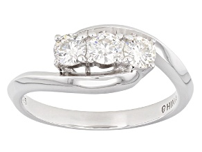 Moissanite Ring Platineve™ .69ctw DEW