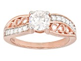 Moissanite Ring 14k Rose Gold Over Silver 1.04ctw DEW