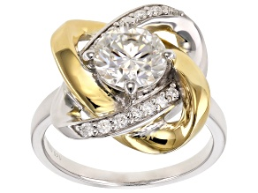 Moissanite Ring Platineve™ And 14k Yellow Gold Over 1.78ctw DEW.