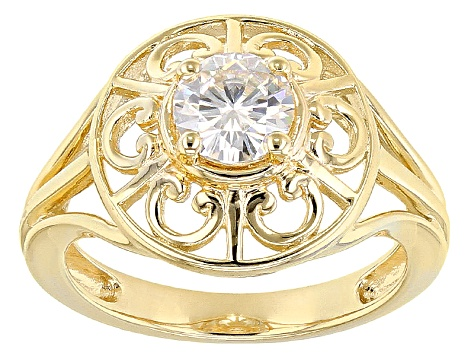 Moissanite Ring 14k Yellow Gold Over Sterling Silver .80ct DEW