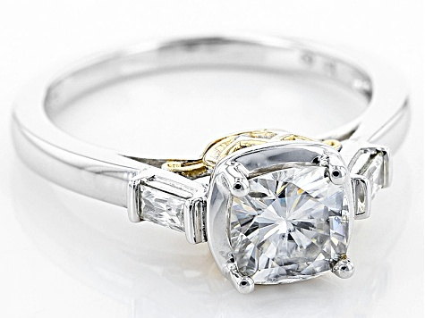 Moissanite Ring Platineve™ With 14k Yellow Gold Accent Over 1.48ctw DEW