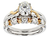 Moissanite Fire® 2.15ctw DEW Platineve™ With 14k Yellow Gold Accent Over Platineve Ring & Band