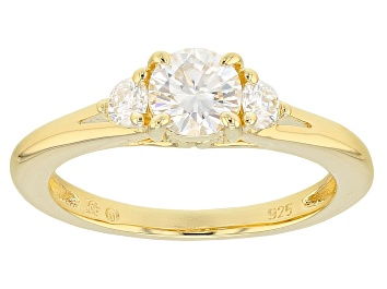 Picture of Moissanite 14k Yellow Gold Over Silver Ring .80ctw D.E.W
