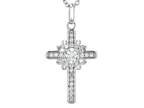 Moissanite Cross Pendant Platineve™ .87ctw DEW