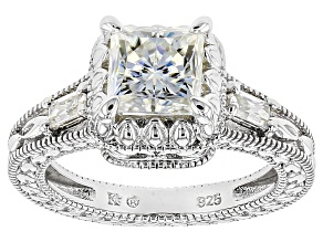 Moissanite Ring Platineve™ 1.90ctw DEW