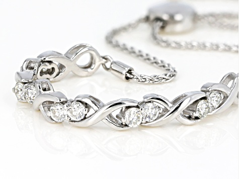Moissanite Adjustable Bracelet Platineve™ 1.30ctw DEW