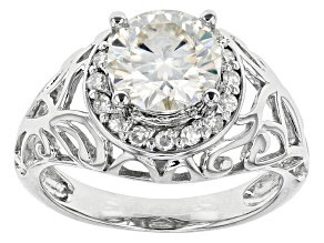 Moissanite Ring Platineve™ 2.22ctw DEW