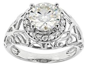 Moissanite Ring Platineve™ 2.22ctw DEW