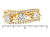 Moissanite 14k Yellow Gold Over Silver Ring 1.17ctw DEW