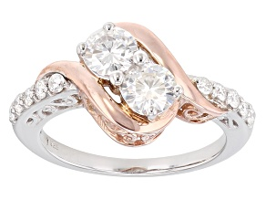 Moissanite Ring Platineve™ And 14k Rose Gold Over Silver 1.30ctw DEW
