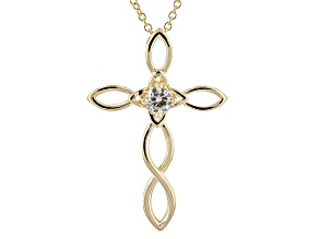 Moissanite Cross Pendant 14k Yellow Gold Over Silver .50ct DEW