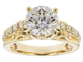 Moissanite 14k Yellow Gold Over Silver Ring 2.92ctw DEW