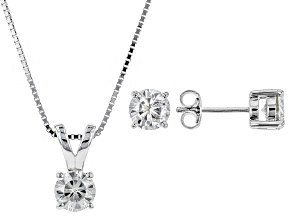 Moissanite Platineve Earrings And Pendant Box Set 2.40ctw DEW