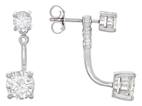 Moissanite Platineve Earrings 2.46ctw DEW