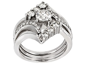 Moissanite Platineve Ring Set 1.58ctw DEW