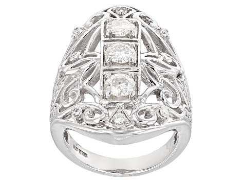Moissanite Platineve Ring 1.41ctw DEW
