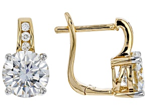 Moissanite Earrings 14k Yellow Gold Over Silver 3.92ctw DEW