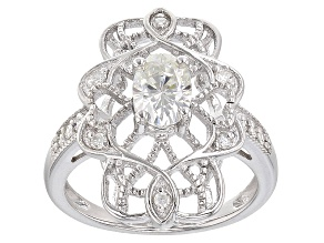 Moissanite Ring Platineve™ 1.06ctw DEW