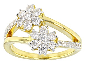 Moissanite 14k Yellow Gold Over Silver Ring .94ctw DEW