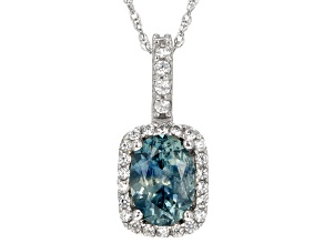Blue Montana Sapphire White Gold Pendant With Chain 1.13ctw